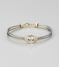Cellini Stainless Steel Silver/Gold Square Cushion Cut Stone Cable Bracelet