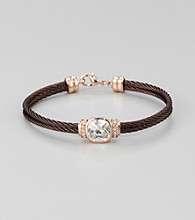 Cellini Stainless Steel Chocolate/Rosegold Square Cushion Cut Stone Cable Bracelet