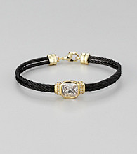 Cellini Stainless Steel Black/Gold Square Cushion Cut Stone Cable Bracelet