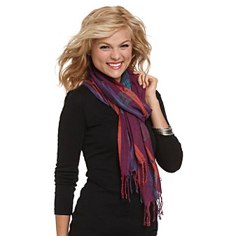 Basha Purple Plaid Lurex Scarf