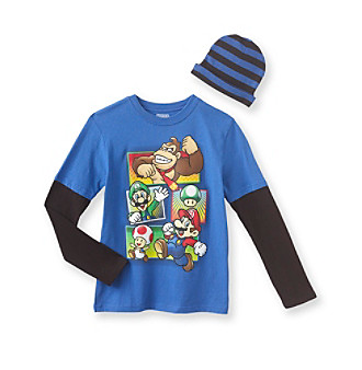 Super Mario Bros. Boys' 8-20 Blue Long Sleeve Mario Tee with Hat