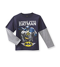 Batman® Boys' 4-7 Navy Long-sleeve Knight Hero Tee
