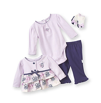 Vitamins Baby® Baby Girls' Purple 4-pc. Floral Creeper Set