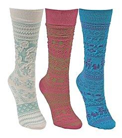 MUK LUKS® Girls' Microfiber 3 Pair Pack Knee High Socks