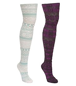 MUK LUKS Teen Girls' 2 Pair Pack Microfiber Tights