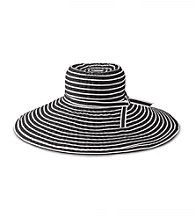 San Diego Hat Co.® Women's Black/White Stripe Ribbon Braid XL Brim Hat
