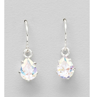 "Sterling Silver and Cubic Zirconia Medium ""Ice"" Teardrop Drop Earrings"