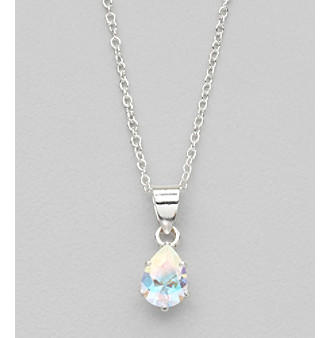 "Sterling Silver and Cubic Zirconia Medium ""Ice"" Teardrop Pendant"