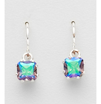 "Sterling Silver and Cubic Zirconia Medium ""Twilight"" Square Drop Earrings"