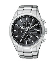 Citizen® Men's Stainless Steel and Black Eco Drive Chronograph Watch
