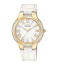Citizen® Women's Goldtone and White Eco Drive