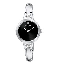 Citizen® Women's Stainless Steel and Black Eco Drive Bangle Watch
