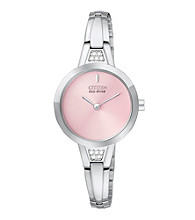 Citizen® Women's Stainless Steel and Pink Eco Drive Bangle Watch
