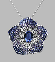 Blue Crystal Flower Pendant in Sterling Silver