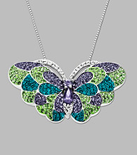 Blue, Green & Purple Crystal Butterfly Pendant in Sterling Silver