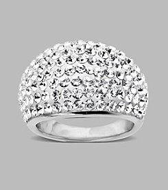 White Crystal Dome Ring in Sterling Silver