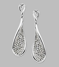 Crystal Teardrop Earrings in Sterling Silver