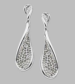 Crystal Teardrop Earrings in Sterling Silver