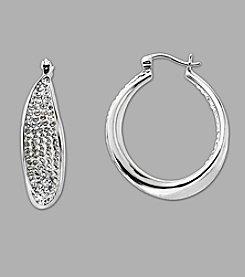 Crystal Hoop Earrings in Sterling Silver
