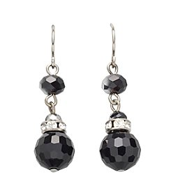 BT-Jeweled Jet/Silvertone Two Bead Drop Earrings