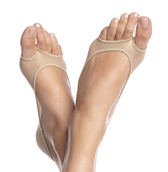HUE® Perfectly Bare Peep-Toe Liners - Cream