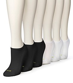 HUE® Mesh Top No Show Socks 6-Pack