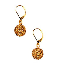 Anne Klein® Goldtone and Topaz Fireball Drop Earrings