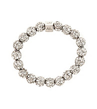 Anne Klein® Crystal and Silvertone Fireball Stretch Bracelet