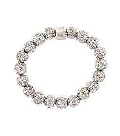 Anne Klein® Crystal and Silvertone Fireball Stretch Bracelet