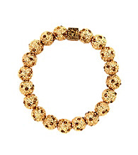 Anne Klein® Goldtone and Crystal Fireball Stretch Bracelet