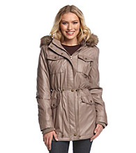Buffalo by David Bitton Waxy Anorak with Faux Fur Hood