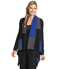 Vertical Design® Cashmere Blend Colorblocked Open-Front Cardigan