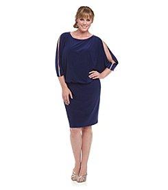 R & M Richards® Plus Size Rhinestone Trim Blouson Dress