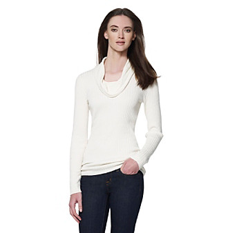 Chic and classic, this ribbed cowlneck sweater from Jones New York Sport is perfect for those crisp days.
