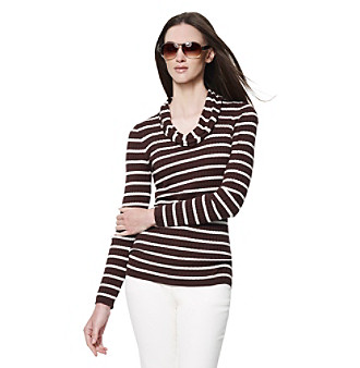 Jones New York Sport® Striped Ribbed Cowlneck Sweater