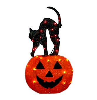 "27.5"" Swaying Webbed Cat on Pumpkin"