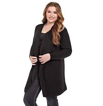 DKNY Jeans® Plus Size Mixed Stitch Drapefront Car Coat