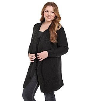 DKNY Jeans® Plus Size Mixed Stitch Drapefront Car Coat
