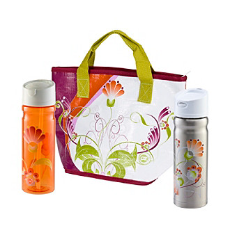 Zak Designs® Stella Insulated Woven PP Tote and Bottles
