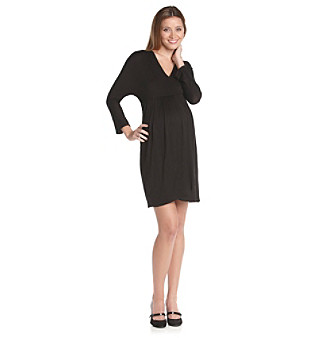 Three Seasons Maternity Long Sleeve Solid Surplice Dress plus size,  plus size fashion plus size appare