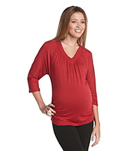Three Seasons Maternity® Solid V-Neck with Side Ruching