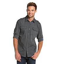 Calvin Klein Jeans® Men's Black 2-Pocket Military Long Sleeve Button Down Shirt