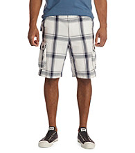 True Nation™ Men's Big & Tall White Navy Plaid Cargo Shorts