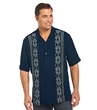 Island Passport™ Men's Big & Tall Navy Embroidered Panel Shirt