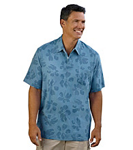 Island Passport™ Men's Big & Tall Shadow Blue Tropical Print Polo