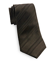 Gold Series™ Men's Big & Tall Black Satin Stripe Silk Tie