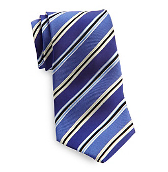 Gold Series™ Men's Big & Tall Blue Satin Stripe Silk Tie
