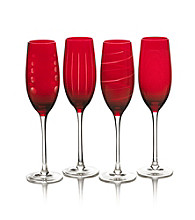 Mikasa® Cheers Ruby Set of 4 Champagne Flutes
