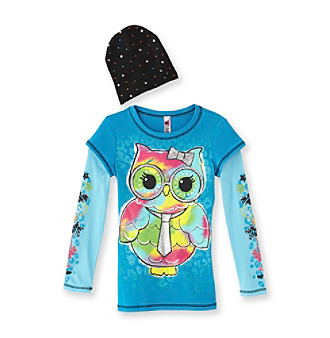 2Beautees Girls' 7-16 Blue Long-sleeve Owl Tee with Hat