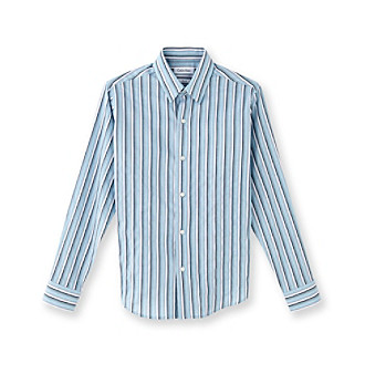 Calvin Klein Boys' 4-20 Teal Gradient Striped Dress Shirt